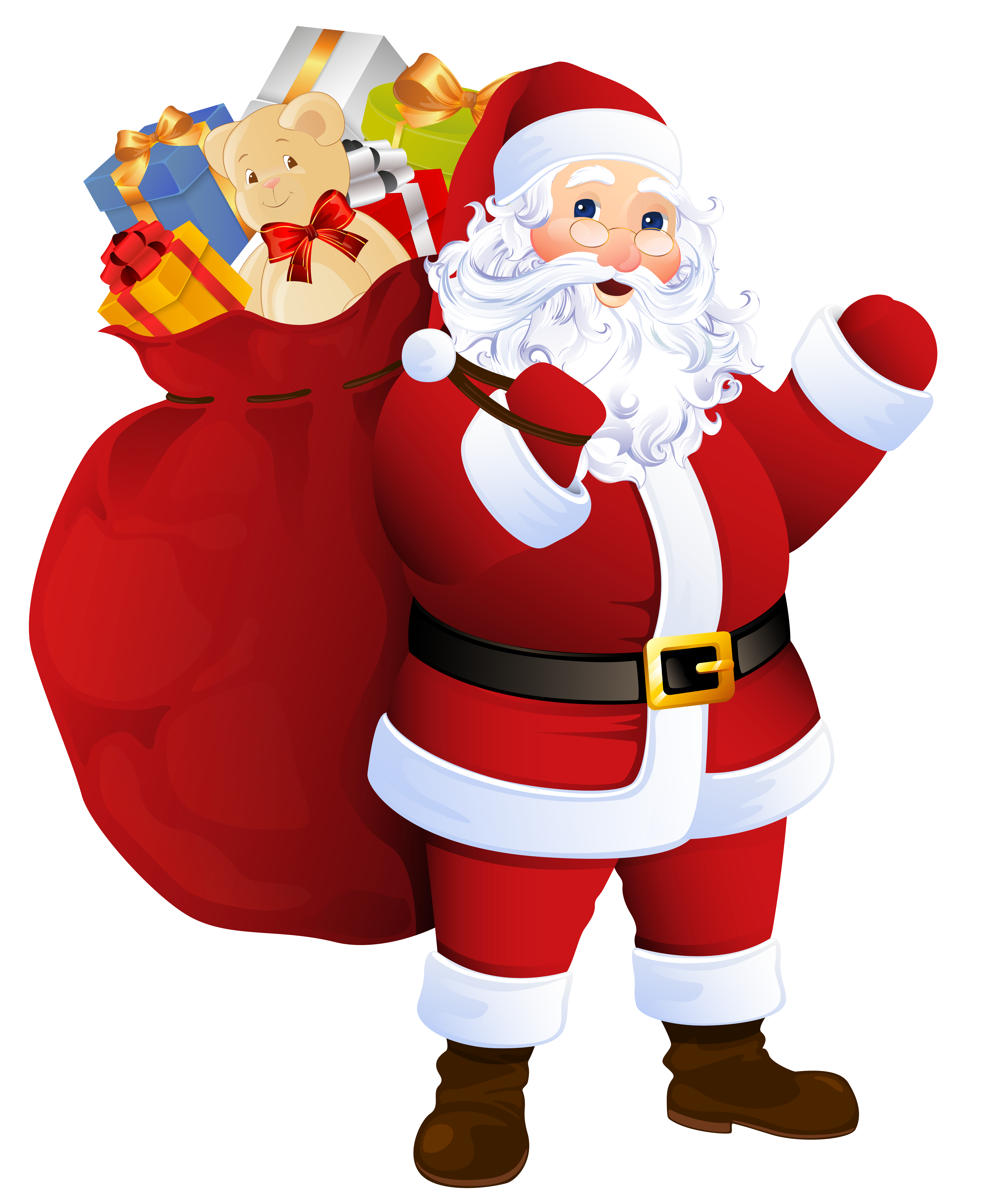 Santa's house clipart vector black and white Transparent Santa Claus with Bag of Gifts | https://gallery ... vector black and white