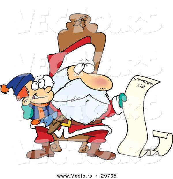 Santas christmas list clipart jpg library stock Cartoon Vector of a Santa Reading Happy Boy's Long Christmas List ... jpg library stock