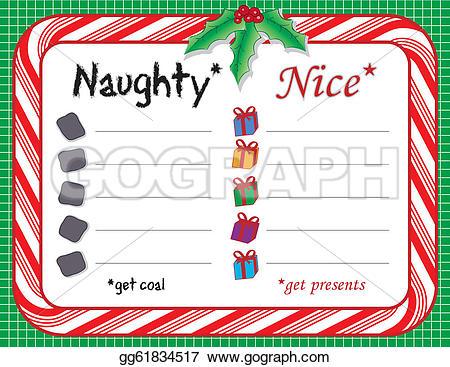 Santas christmas list clipart clip art black and white Vector Clipart - Santa's naughty or nice xmas list. Vector ... clip art black and white