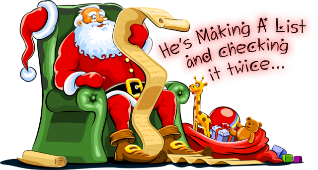 Santas list clipart vector freeuse stock Santa checking his list clipart - ClipartFox vector freeuse stock