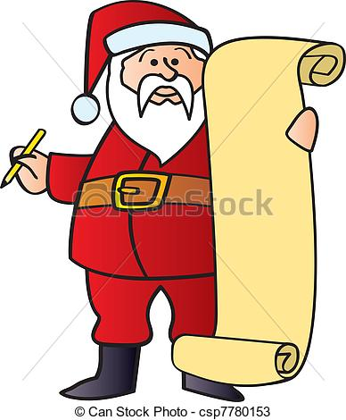Santas list clipart png black and white stock Vectors of Santa With List - Santa holding a pencil and a blank ... png black and white stock