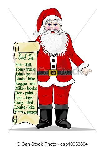 Santas list clipart vector stock Stock Illustrations of Santas list - Santas little helper checking ... vector stock