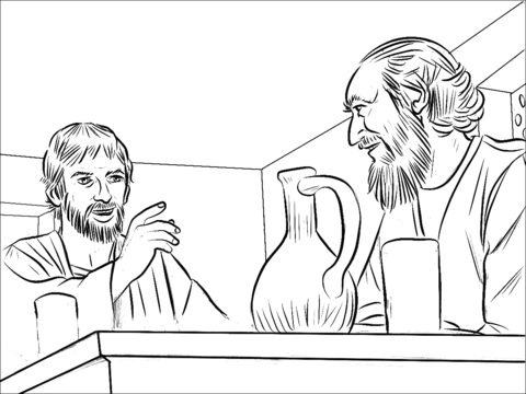 Saul and annanias clipart black and white Ananias and Paul coloring page | Free Printable Coloring Pages black and white