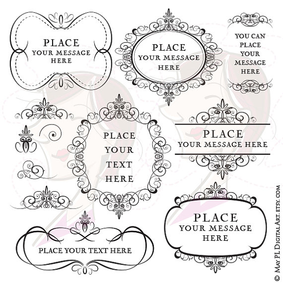 Save clipart as jpeg picture freeuse Flourish Frames Clipart Digital Swirls Vector DIY Wedding Save picture freeuse
