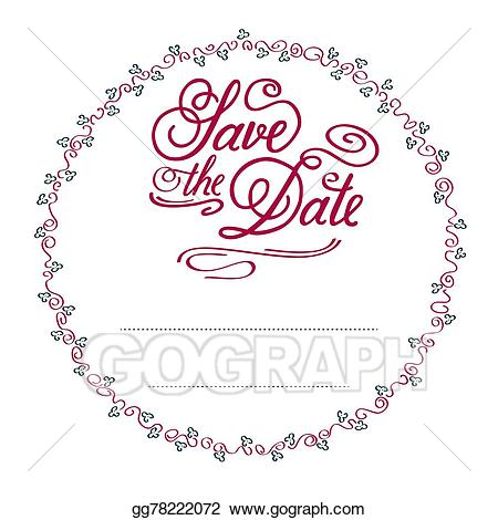 Save clipart in illustrator black and white library Vector Stock - Save the date. Clipart Illustration ... black and white library