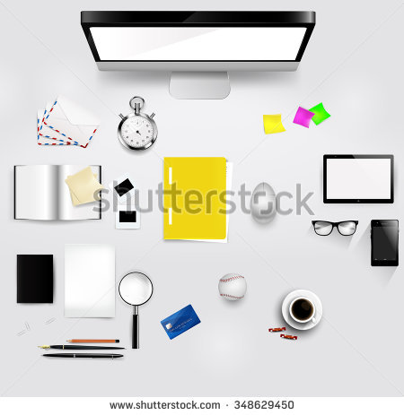 Save desktop clipart layout clipart transparent stock Desktop Layout With Different Items On It. Each Of The Items Is A ... clipart transparent stock