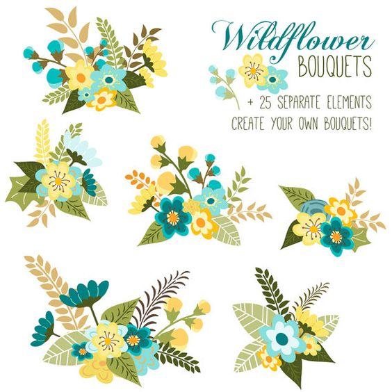 Save desktop clipart layout vector free CLIP ART: Flower Bouquet // Floral Arrangement // Vector EPS ... vector free