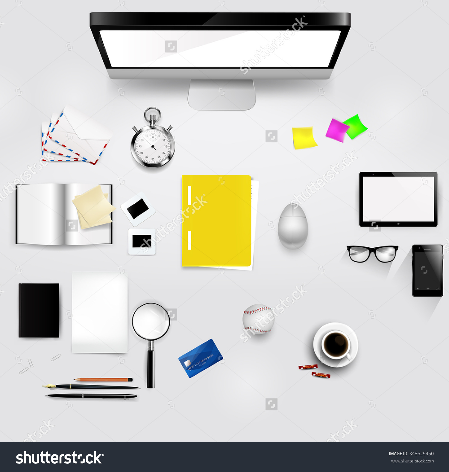 Save desktop clipart layout picture freeuse library Desktop Layout With Different Items On It. Each Of The Items Is A ... picture freeuse library