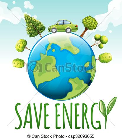 Save energy clipart banner freeuse download Clipart Vector of Save energy theme with car and trees ... banner freeuse download