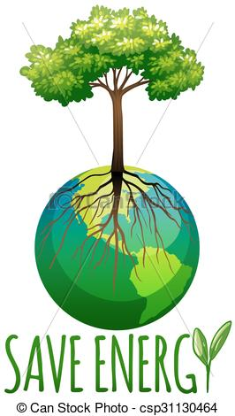 Save energy clipart transparent download Clip Art Vector of Save energy theme with earth and tree ... transparent download
