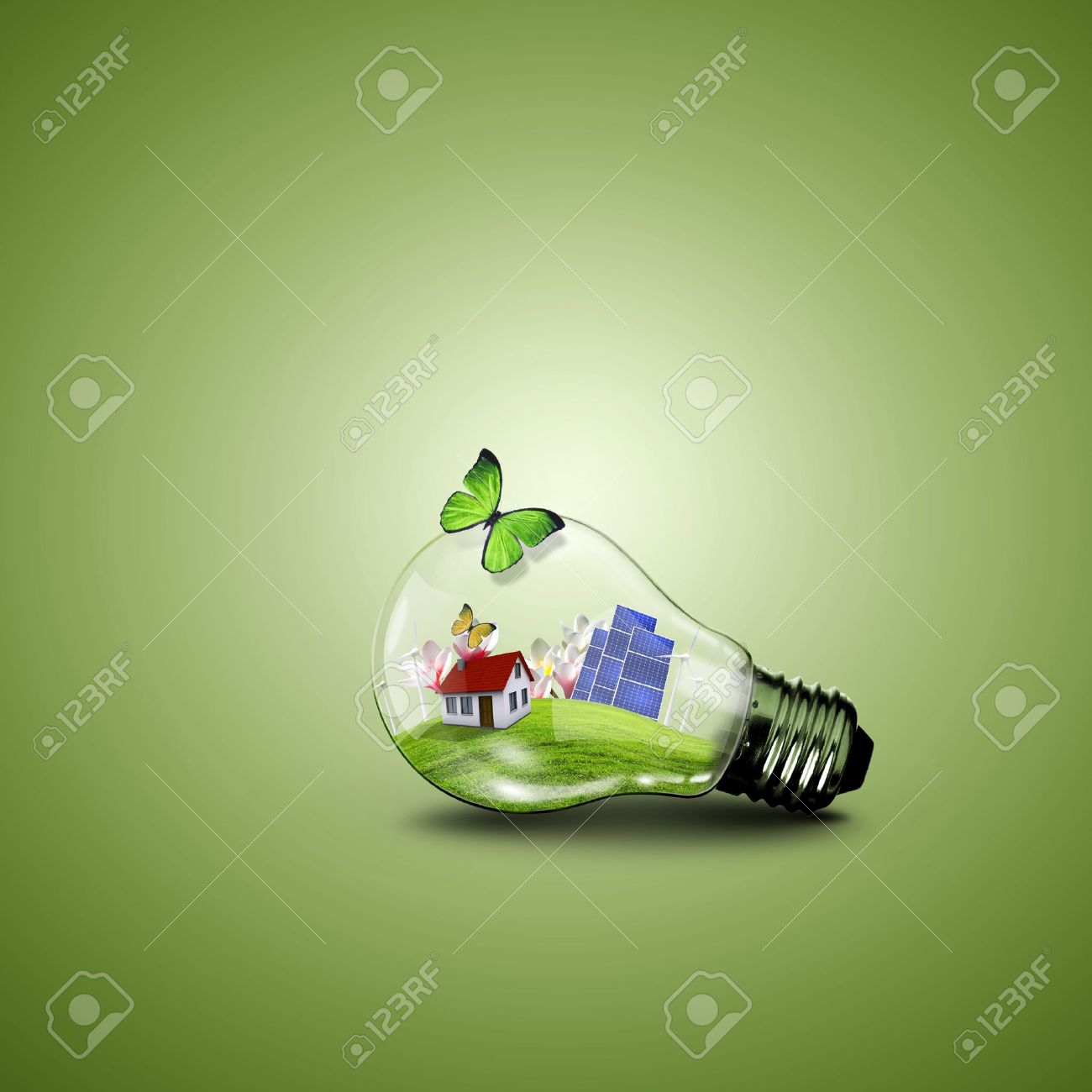 Save energy save environment clipart banner black and white download Electric Light Bulb And House Inside It As Symbol Of Green Energy ... banner black and white download