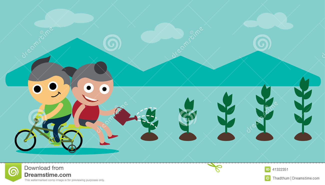 Save environment clipart png royalty free Children Saving The Environment By Planting Trees Stock Vector ... png royalty free
