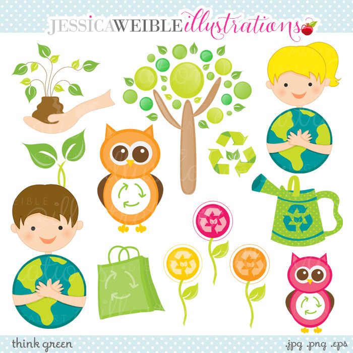 Save environment clipart picture royalty free library Think Green Cute Digital Clipart Commercial Use OK Earth picture royalty free library