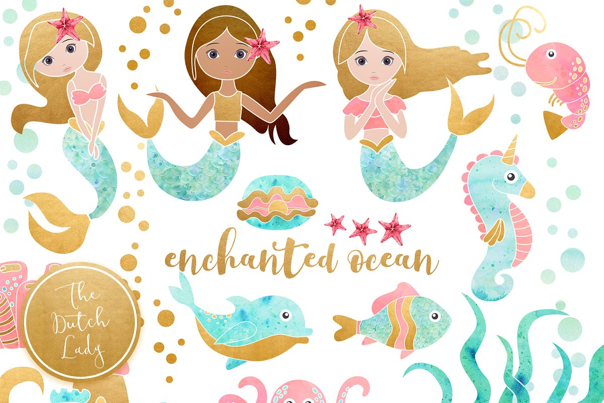 Save the ocean clipart vector freeuse download Enchanted Ocean Clipart Set ~ Illustrations ~ Creative Market vector freeuse download