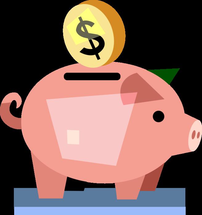 Saving money piggy bank clipart picture transparent stock Piggy Bank Teaches Thrift and Savings - Vector Image picture transparent stock