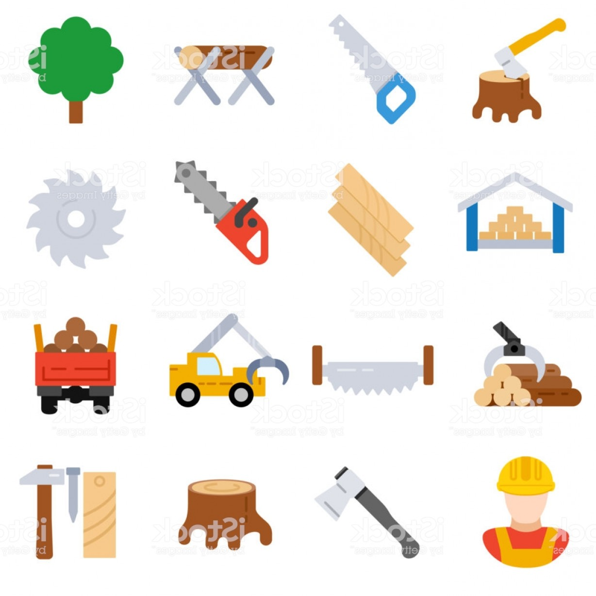 Sawmill clipart banner royalty free Sawmill Icons Set Woodworking Flat Design Gm | SOIDERGI banner royalty free