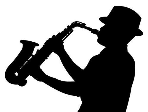 Sax player clipart vector black and white stock sax player silhouette | SILUETTI KUVIA ( Silhouettes ) | Muste vector black and white stock