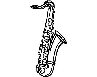 Saxophone clipart black and white banner transparent library Saxophone Clipart Black And White (97+ images in Collection ... banner transparent library