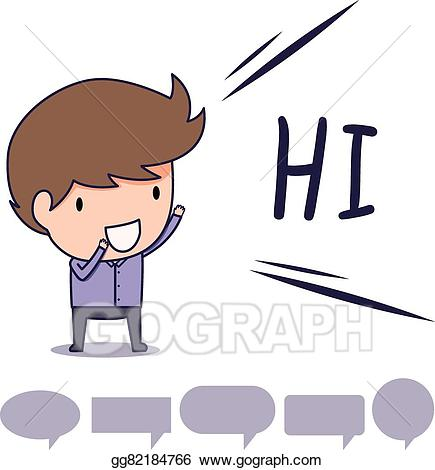 Say hi clipart image black and white Vector Art - Man say hi. Clipart Drawing gg82184766 - GoGraph image black and white