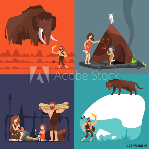 Scalling a cave clipart banner freeuse stock Stone age concepts. Prehistoric ancient human and tools ... banner freeuse stock