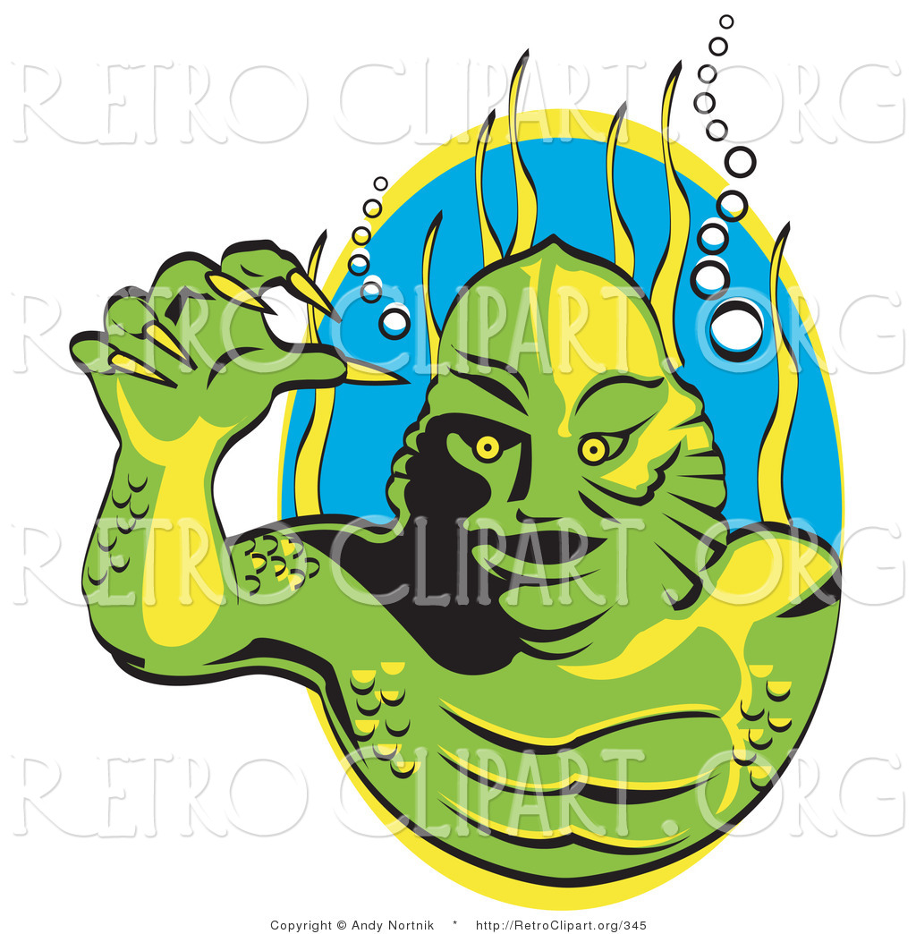 Swamp monsters clipart jpg stock Retro Clipart of a Green Swamp Monster with Yellow Talons ... jpg stock