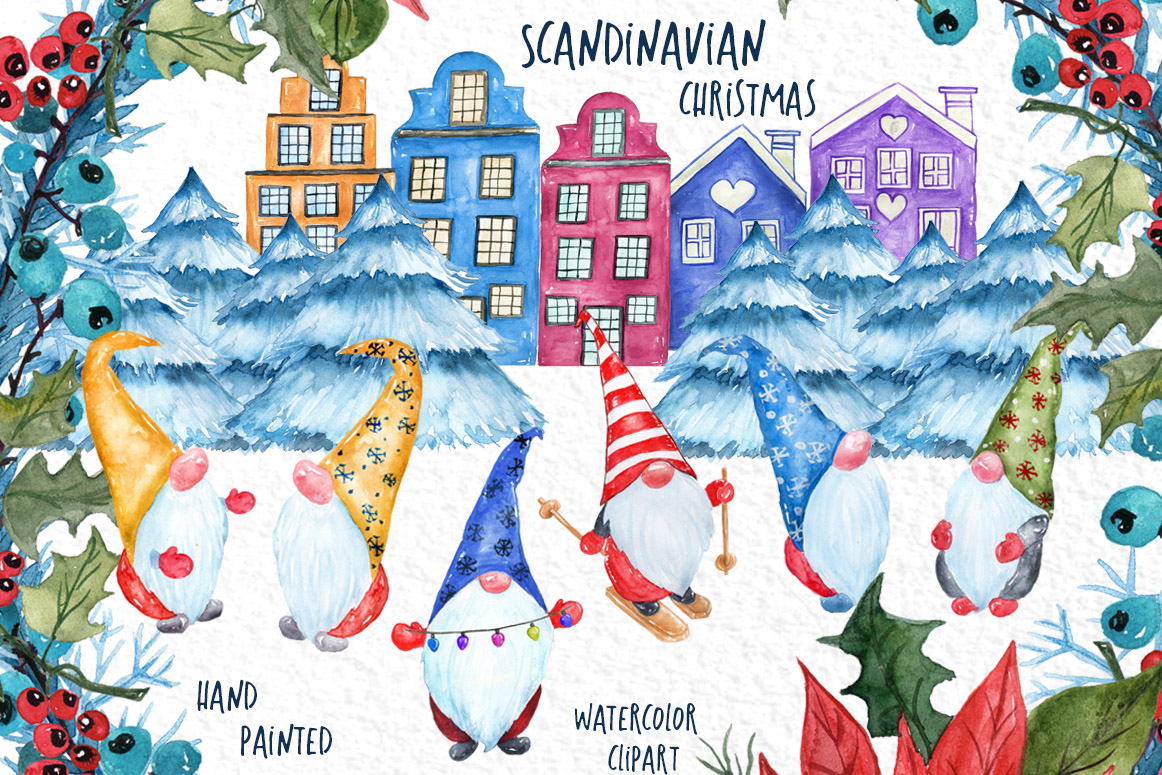 Scandinavian christmas clipart clipart free stock Watercolor Scandinavian Gnome, Christmas clipart clipart free stock