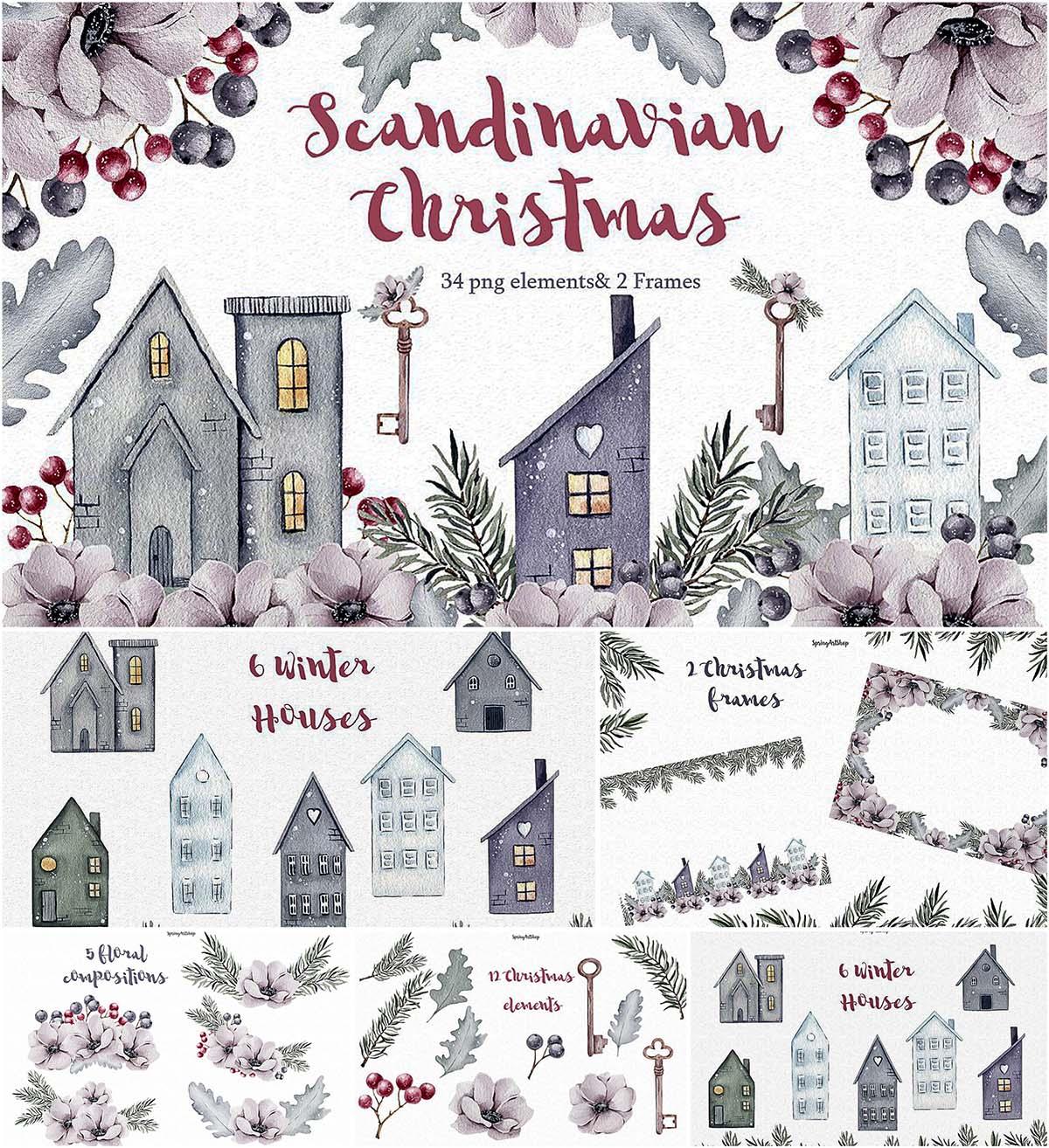 Scandinavian christmas clipart clip library download Scandinavian Christmas clipart | Free download clip library download