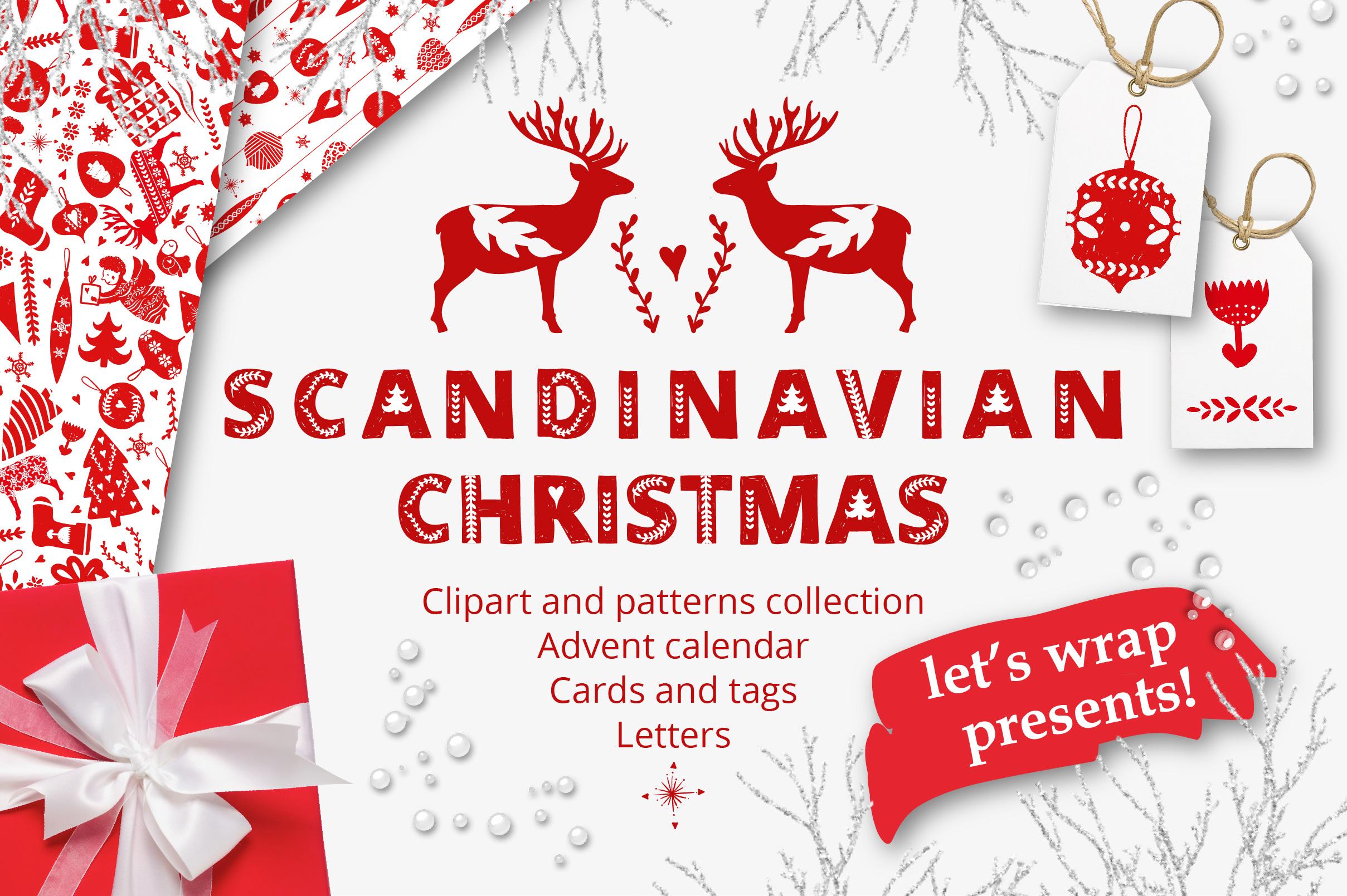 Scandinavian christmas clipart royalty free library Scandinavian Christmas in Red royalty free library