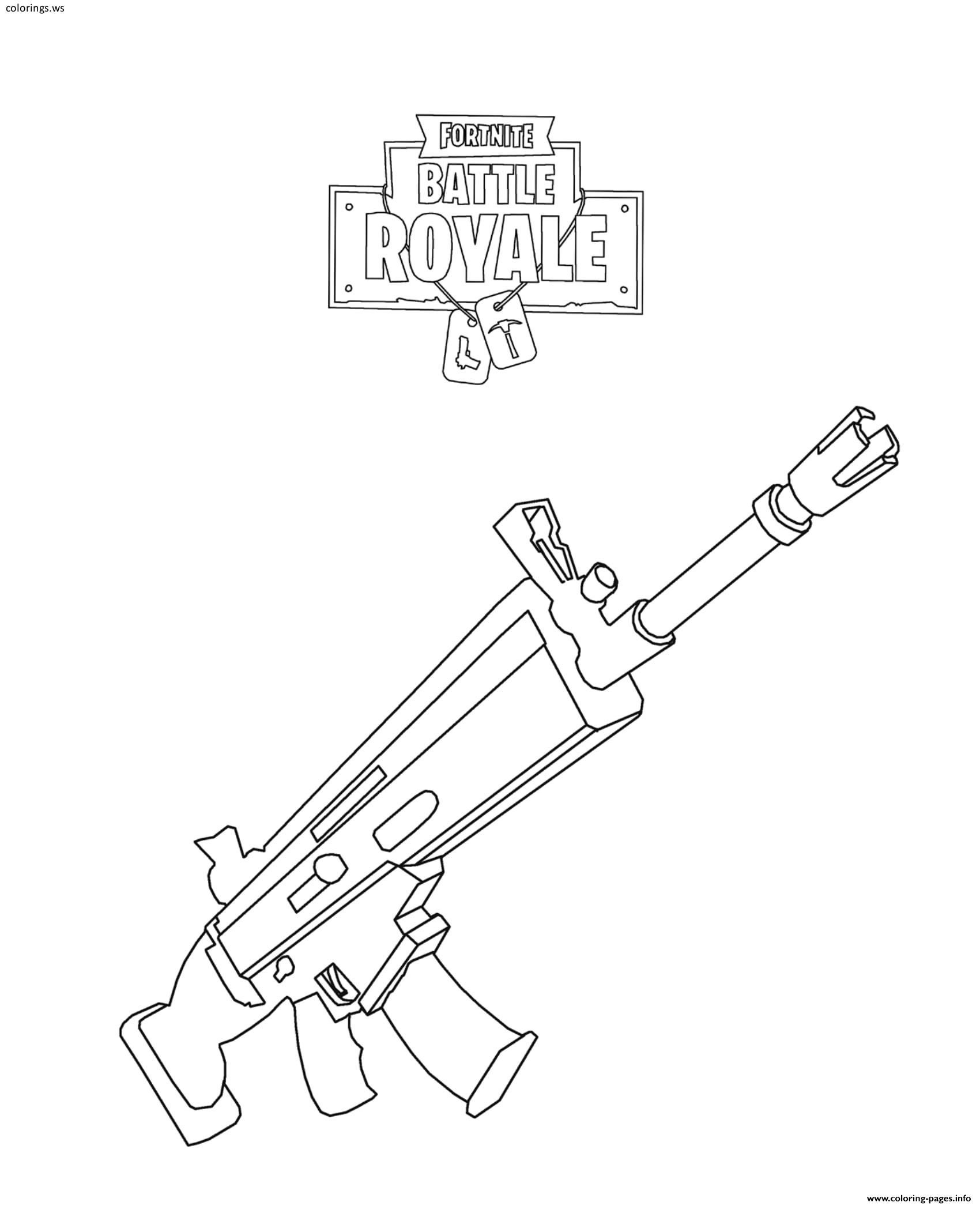 Scar de fortnite clipart png library stock Fortnite Scar Coloring Pages, Fortnite Coloring Pages, Free ... png library stock