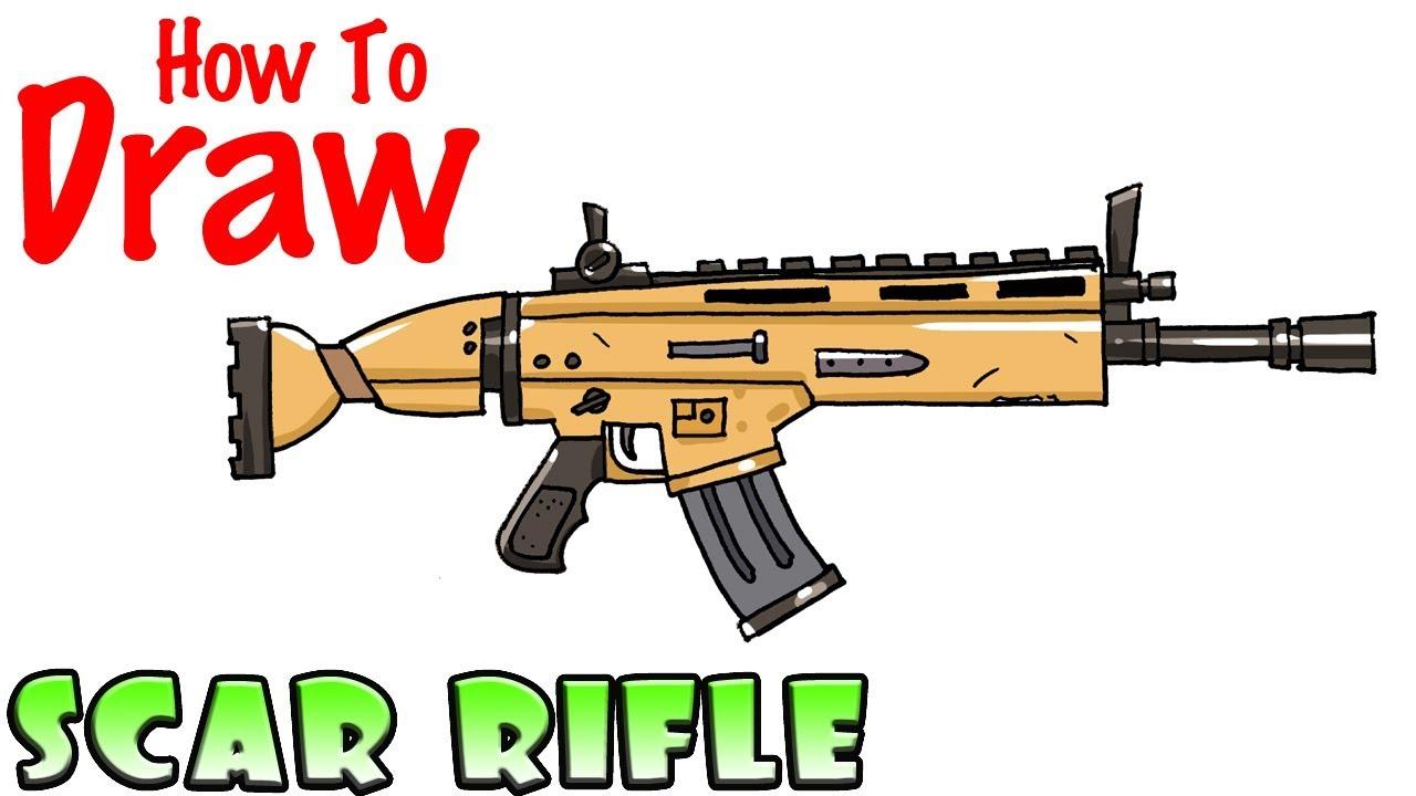 Scar de fortnite clipart clip art How to Draw the SCAR Rifle | Fortnite clip art