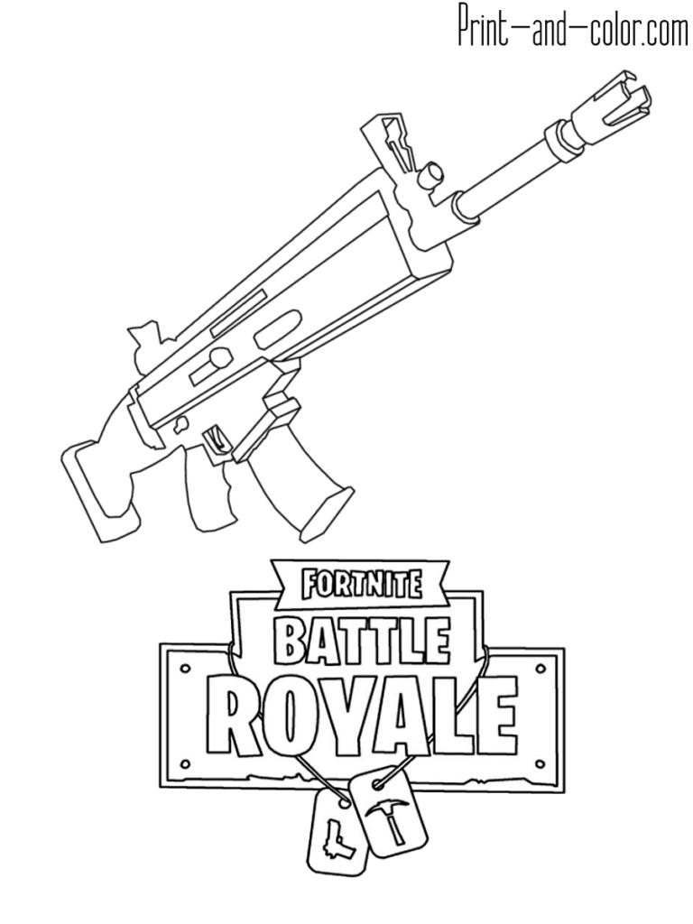 Scar de fortnite clipart clip art download Fortnite battle royale coloring page Weapon SCAR ASSAULT ... clip art download