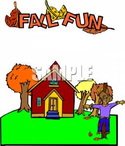 Scarecrow with tree clipart graphic library download Trees and a Scarecrow Outside a Schoolhouse - Clipart graphic library download