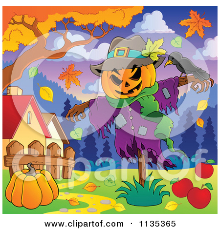 Scarecrow with tree clipart png black and white stock Cartoon Of A Jackolantern Halloween Scarecrow And Bird - Royalty ... png black and white stock