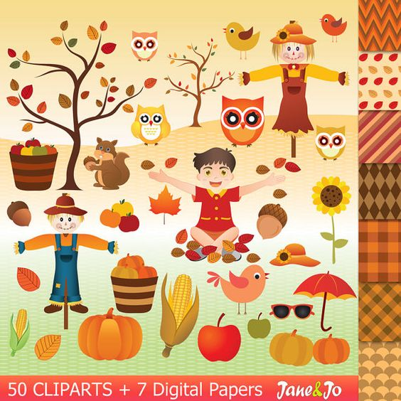 Scarecrow with tree clipart graphic royalty free library 50 Autumn clipart autumn clip art , autumn digital paper,squirrel ... graphic royalty free library