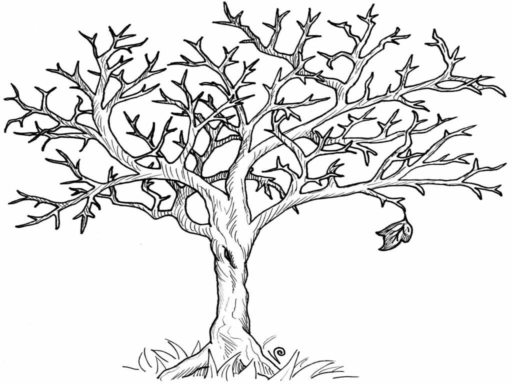Scarecrow with tree clipart png black and white stock Fall Tree Coloring Book, fall tree clip art via. Coloring trend ... png black and white stock