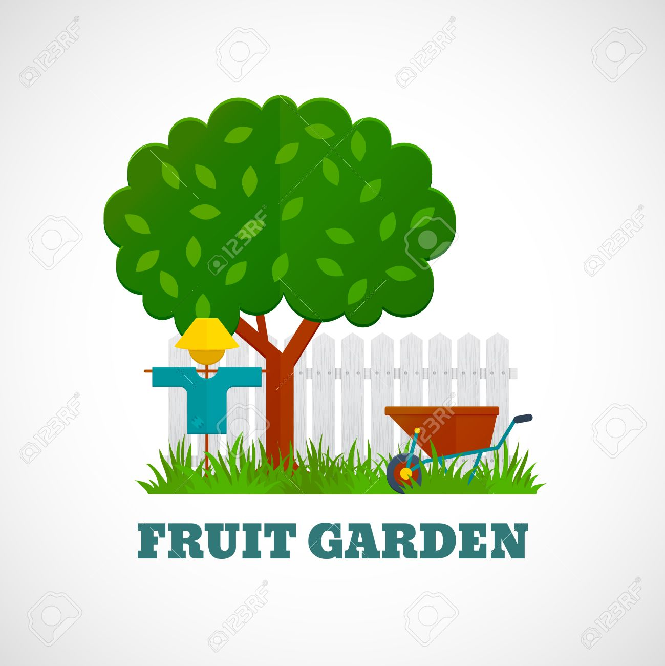 Scarecrow with tree clipart banner black and white library Fruit Garden Poster With Tree Scarecrow Wheelbarrow On The Lawn ... banner black and white library
