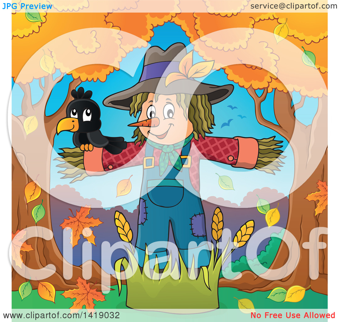 Scarecrow with tree clipart clip art black and white library Scarecrow with tree clipart - ClipartFox clip art black and white library