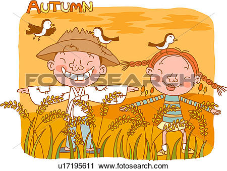 Scarecrow with tree clipart picture freeuse download Clipart of rice field, girl, rice, sparrow, scarecrow, tree, boy ... picture freeuse download