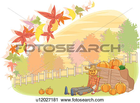 Scarecrow with tree clipart vector free download Clipart of fallen leaves, scarecrow, autumn color, tree, pumpkin ... vector free download