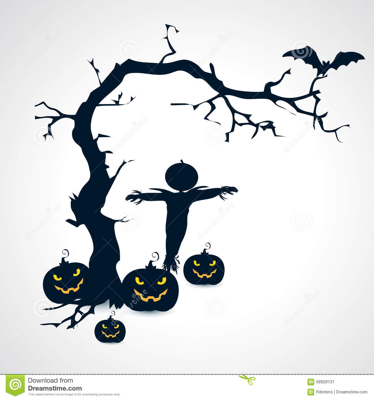 Scarecrow with tree clipart jpg transparent download Silhouettes Of Scarecrow, Pumpkins, Bat And Tree Halloween Symbol ... jpg transparent download