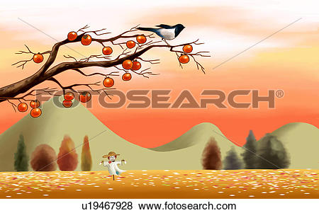 Scarecrow with tree clipart image black and white library Stock Illustration of persimmon tree, mountain, tree, harvest ... image black and white library