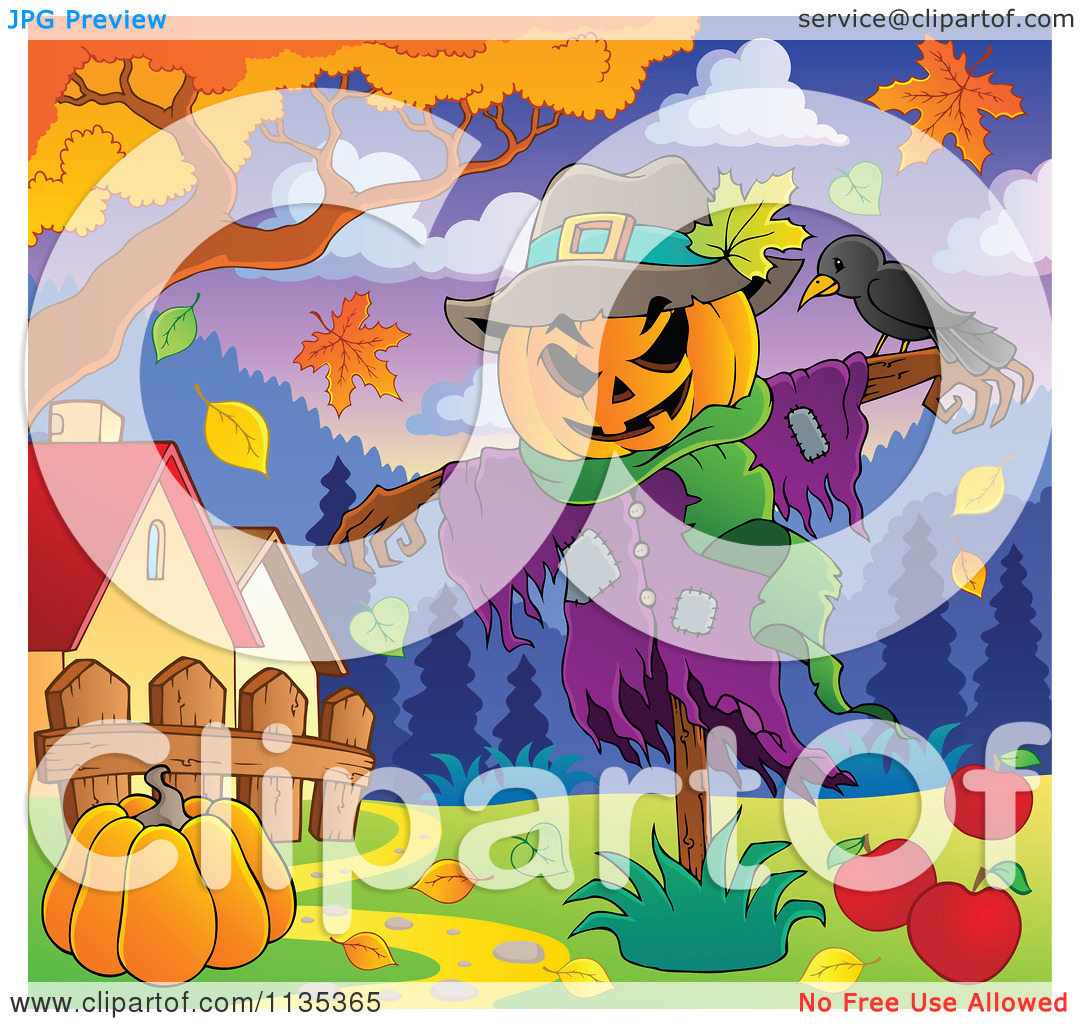 Scarecrow with tree clipart graphic free download Cartoon Of A Scarecrow And Bird With A Pumpkin Under An Autumn ... graphic free download