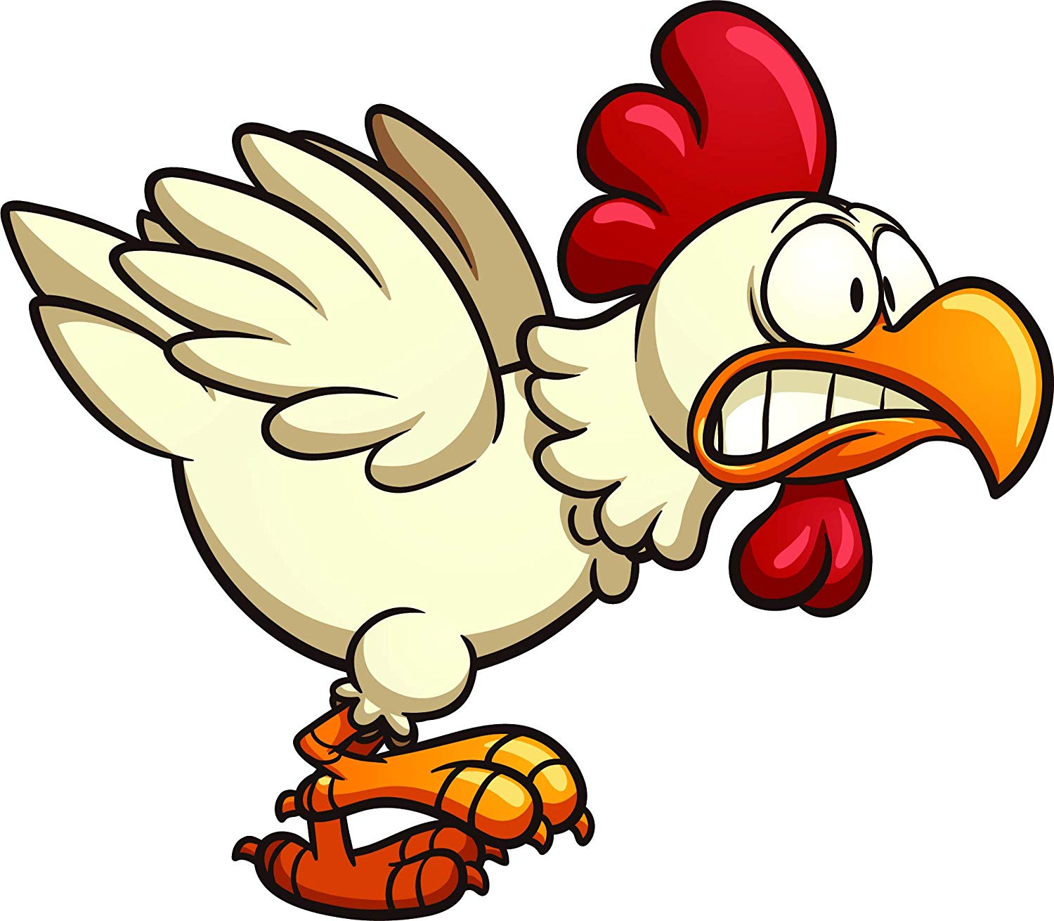 Scared chicken clipart clip transparent stock Amazon.com: Crazy Silly Running Scared Chicken Cartoon Vinyl ... clip transparent stock