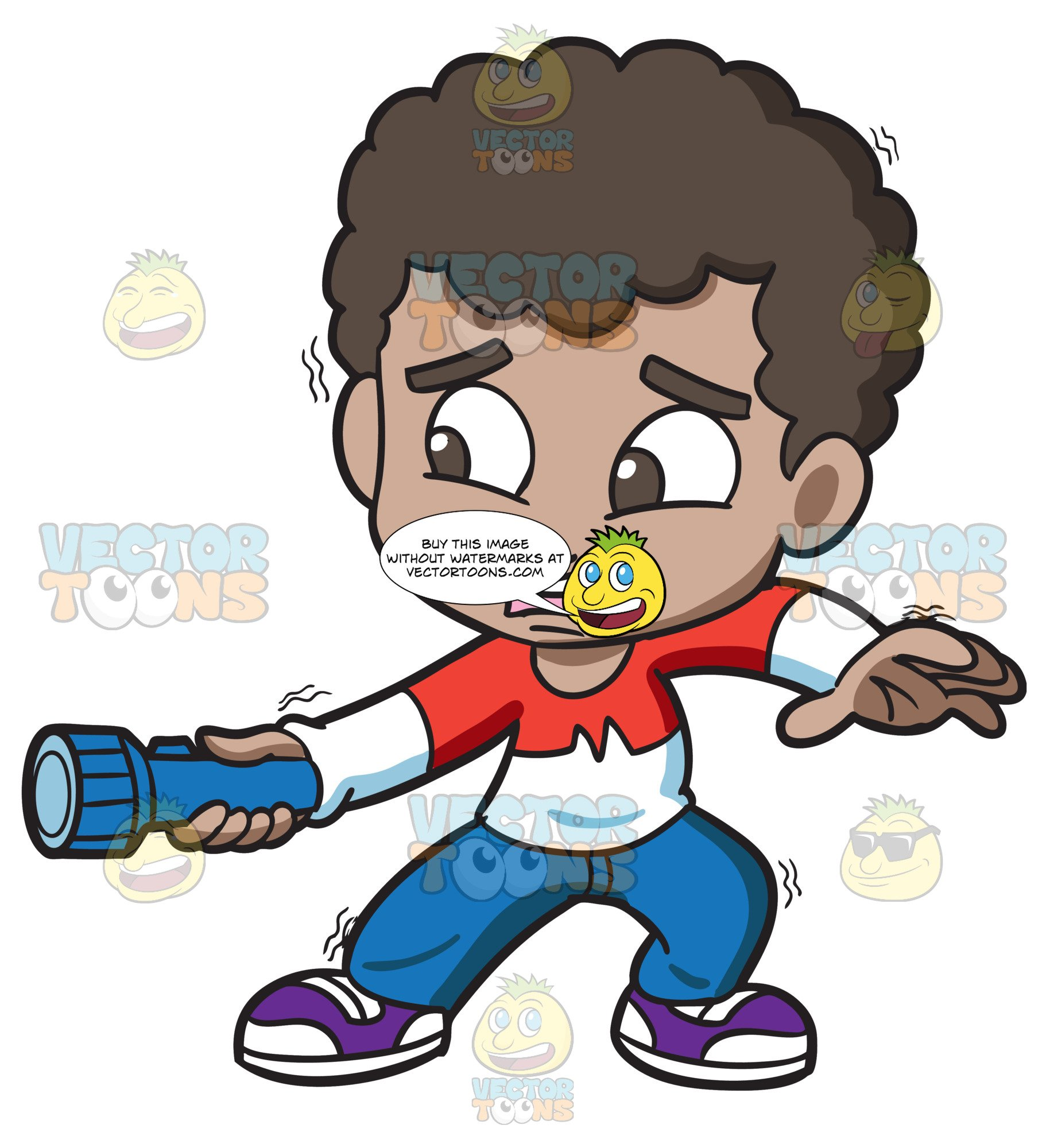 Scared child clipart clip art royalty free stock A Scared Black Boy Holding A Flashlight In The Dark clip art royalty free stock