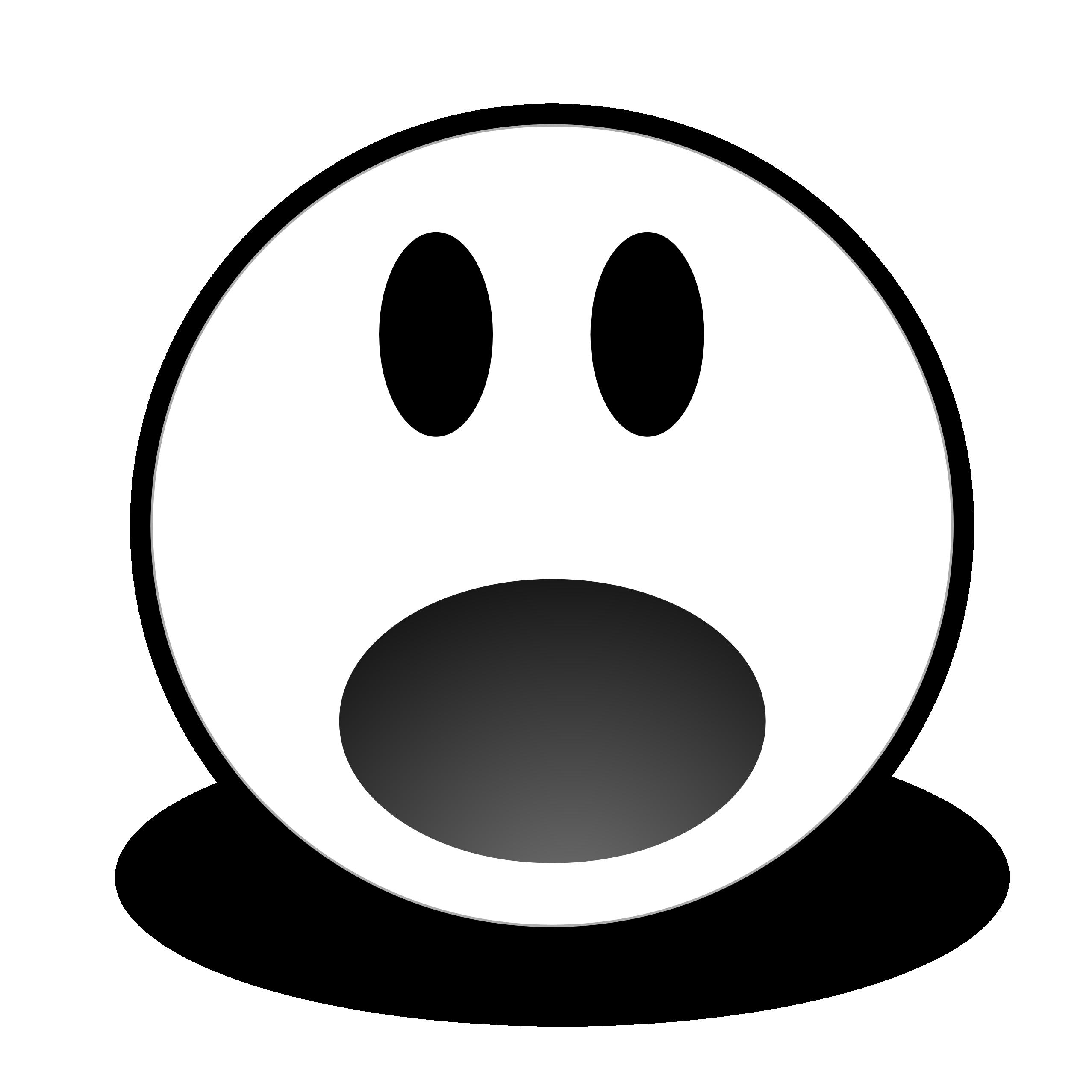 Transparent black and white worried emoji clipart