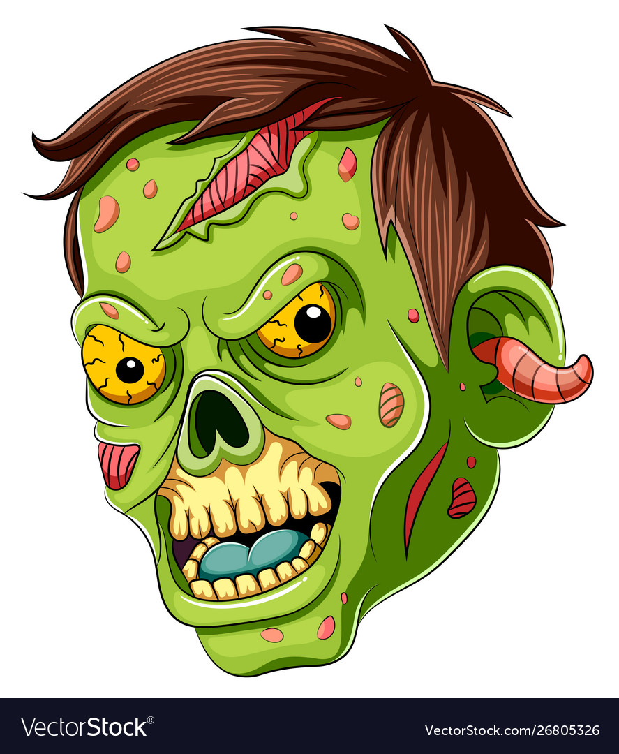 Scared face white background clipart clip art transparent download Cartoon scary zombie face on white background clip art transparent download