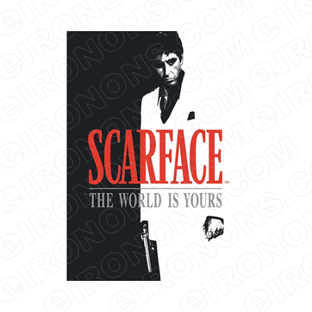 Scarface the world is yours clipart black and white library SCARFACE THE WORLD IS YOURS LOGO RED AL PACINO TONY MONTANA MOVIE T-SHIRT  IRON-ON TRANSFER DECAL #MSF6 black and white library