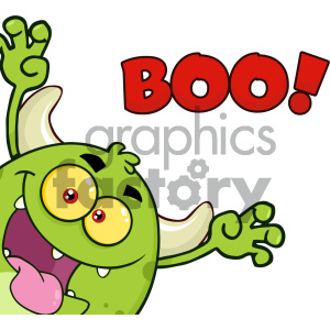 Scaring clipart png transparent download Green Monster Cartoon Emoji Character Scaring Vector Illustration Isolated  On White Background With Text Boo clipart. Royalty-free clipart # 404611 png transparent download