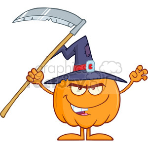 Scaring clipart banner free stock Royalty Free RF Clipart Illustration Scaring Halloween Pumpkin With A Witch  Hat And Scythe Cartoon Mascot Character clipart. Royalty-free clipart # ... banner free stock