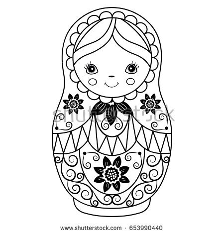 Scary russian doll black and white clipart image black and white Russian paintings search result at PaintingValley.com image black and white